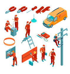 isometric electricians set vector image