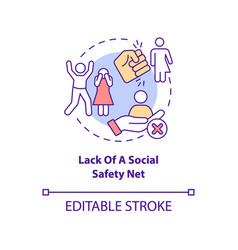 Lack social safety net concept icon vector