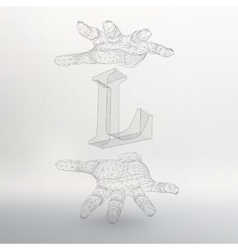 Letter L and hand of lines vector