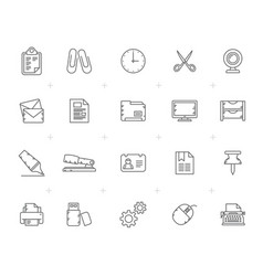 line business and office equipment icons vector image