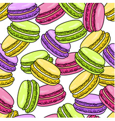 Macaroon seamless pattern sweet french macaron vector