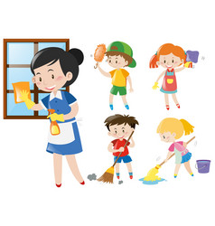 Maid and kids doing chores vector