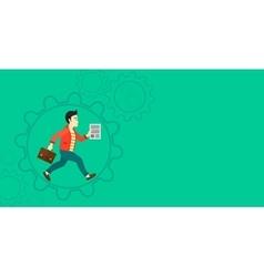 Man running inside the gear vector image