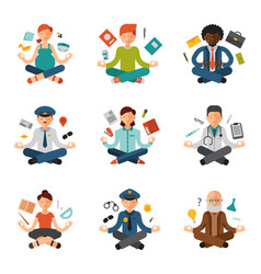 meditation yoga people relax procedure vector image