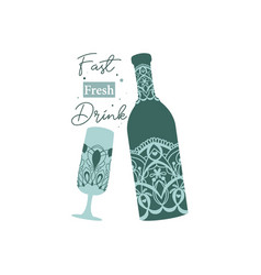 Modern bondi blue design alcohol bottle vector