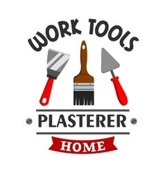 Plasterer repairs home work tools icon vector image