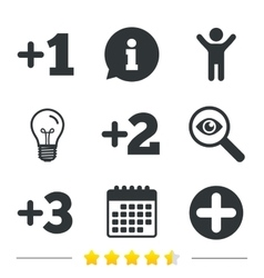 Plus icons positive symbol add one more sign vector