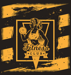 poster for a fitness center in grunge style vector image