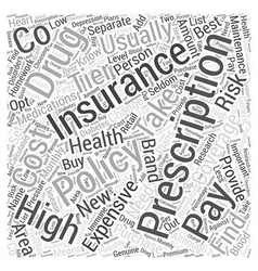 Prescription Insurance Policies Word Cloud Concept vector image