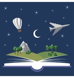 Reading book imagination vector image