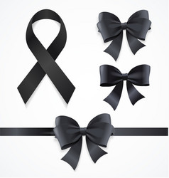 realistic detailed 3d black mourning symbols set vector image