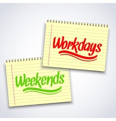 Realistic spiral weekends workdays notebook vector
