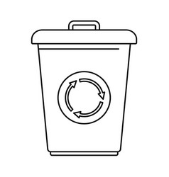 recycling bin icon outline style vector image