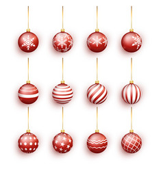 red christmas balls set isolated on white vector image