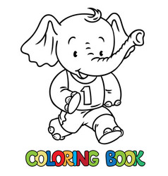 running little baby elephant coloring book sport vector image