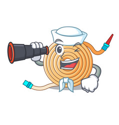 Sailor with binocular water hose to extinguish the vector