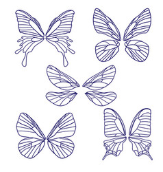 set butterflies silhouettes isolated on white vector image