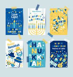 Set colors six hanukkah greeting cards with vector