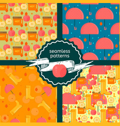 set of autumn stuff patterns vector image