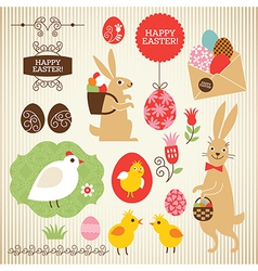 Set of Easter elements vector image