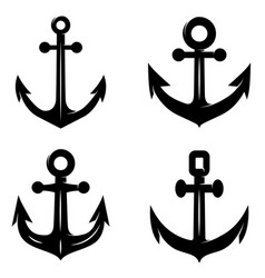 set of icons of the anchor isolated on white vector image