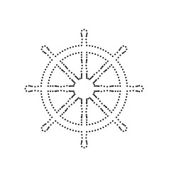 Ship wheel sign black dotted icon on vector