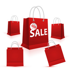 shopping paper red bag set empty vector image