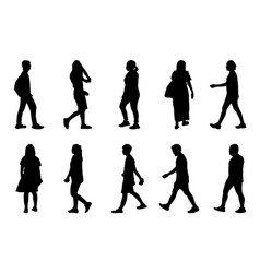Silhouette men and women walking on white vector