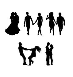 Silhouettes couples in love vector