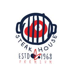 steak house logo template premium estd 1968 vector image