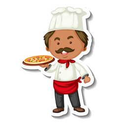 sticker template with a chef man holds pizza tray vector image
