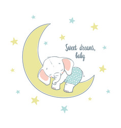 Sweet dreams a little elephant sleep on the moon vector