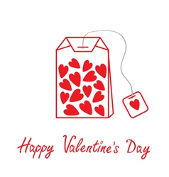 Teabag with hearts Happy Valentines Day vector image