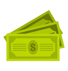 Three dollar bills icon flat style vector image