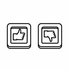 Thumbs up and down square buttons icon vector image