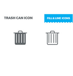 trash icon fill and line flat design ui vector image
