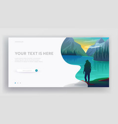 Travel website landing page young man traveler vector