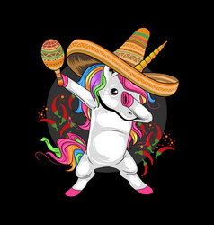 Unicorn mexican hat cinco de mayo artwork vector
