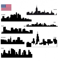 Usa skyline silhouettes vector