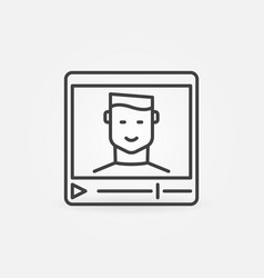 video player with man outline icon vector image