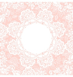 White lace on pink background vector