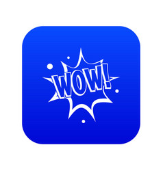 Wow explosion effect icon digital blue vector