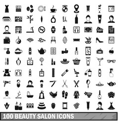 100 beauty salon icons set in simple style vector image vector image