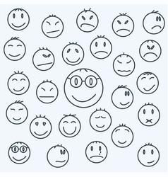 cartoon emotional faces set comics expressed vector image vector image