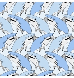 Cute sharks pattern Nautical seamless print Sea vector image