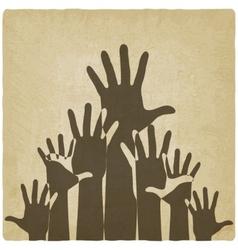 hands up symbol old background vector image vector image