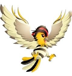happy yellow bird cartoon flying vector image vector image