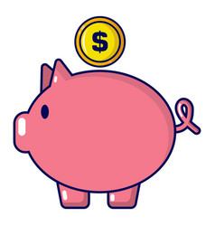 pig money icon cartoon style vector image vector image