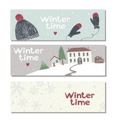 Set of three website horizontal winter banners vector image vector image