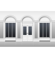 Shop Building with Glass Showcase Closed Door vector image vector image